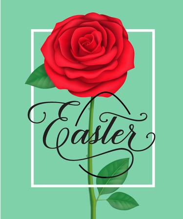 复活节字母在框架与红玫瑰插图