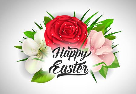 复活节字母与玫瑰和花朵插图