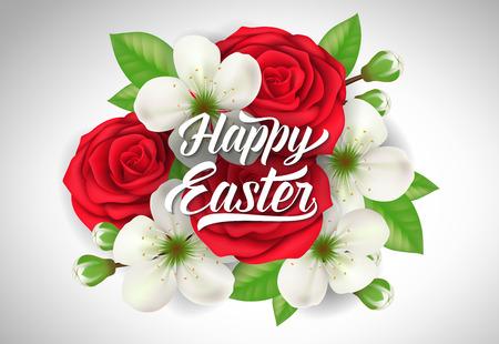 复活节字母与玫瑰和花朵矢量插图。