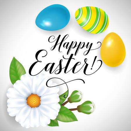带蛋和花的复活节快乐卡片