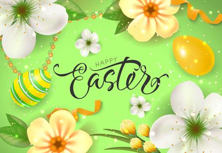 复活节快乐卡片与鲜花和鸡蛋插图