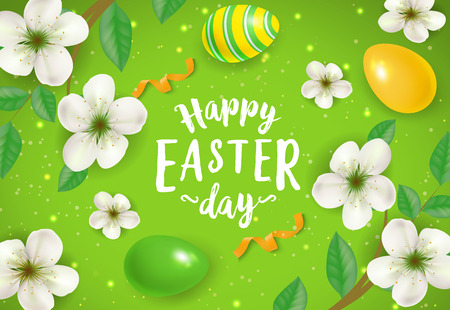 Happy Easter Lettering with Blooming Twigs  イラスト・ベクター素材