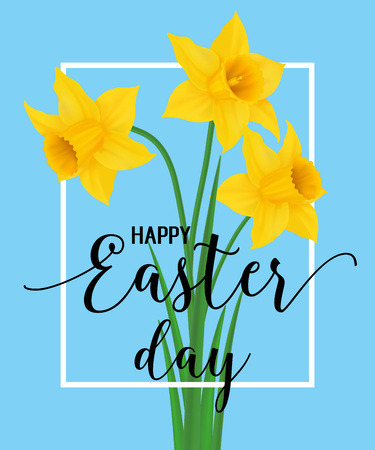 Happy Easter Lettering with Narcissuses Vector illustration.