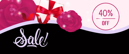 Sale, forty percent off lettering with present box and roses on pink and black banner. Calligraphic inscription can be used for leaflets, posters, banners. Illustration