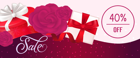 Sale, forty percent off lettering with present boxes and roses on pink and vinous banner. Calligraphic inscription can be used for leaflets, posters, banners. Ilustrace