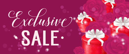Sale Lettering with Roses and Gift Boxes Illustration