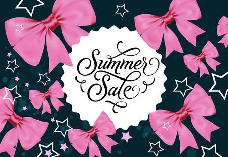 Summer Sale Label on Dark Blue Background