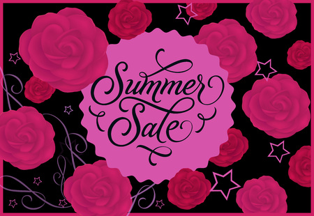 Summer Sale Label with Roses on Background Vector illustration.