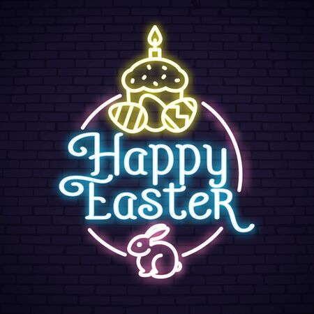 Neon Easter templates set