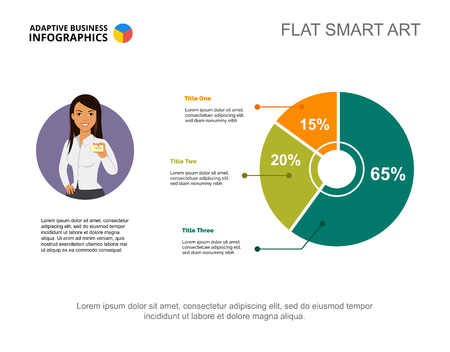 Three options pie chart slide template. Business data. Illustration