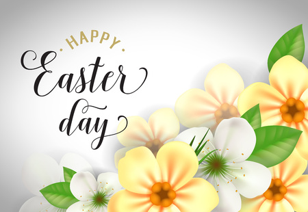 Happy Easter Day Lettering, Flowers