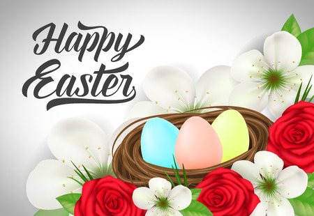 Happy Easter Inscription and Eggs in Nest
