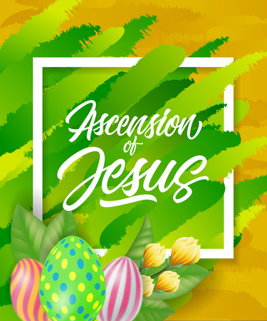 Ascension of Jesus Lettering with Eggs Illustration
