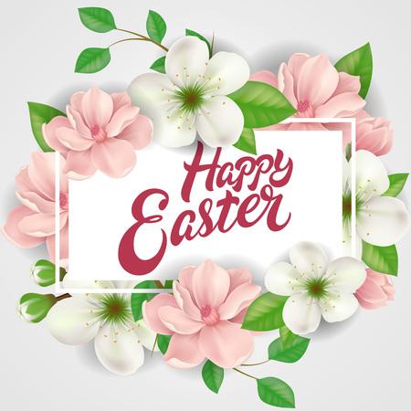 复活节快乐的字母在长方形框架与粉红色和白色的花朵。书法题字可用于贺卡、节日设计、明信片、海报插图