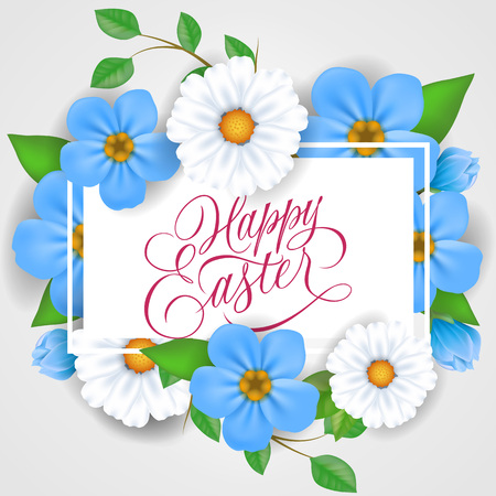 Happy Easter lettering in rectangular frame with white and blue flowers. Calligraphic inscription can be used for greeting cards, festive design, postcards, posters