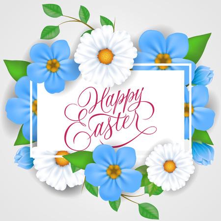 复活节快乐字母在长方形框架与白色和蓝色的花。书法题字可用于贺卡、节日设计、明信片、海报