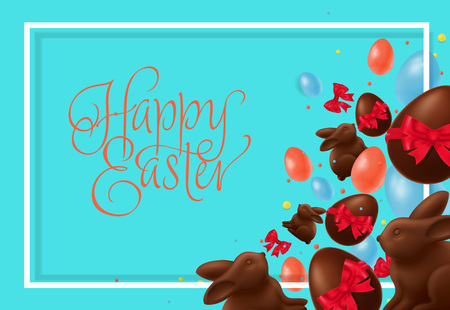 Happy Easter lettering with candies Illustration