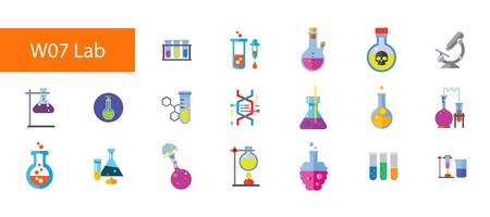 Chemical laboratory icon set vector illustration Vettoriali