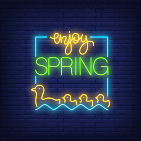 Enjoy spring neon sign with ducks vector illustration Illustration