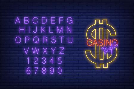 Casino night neon sign with alphabet typography vector illustration