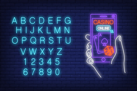 Casino online neon sign with alphabet typography vector illustration