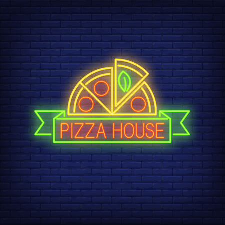 Pizza house neon sign vector illustration