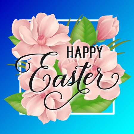 复活节字母与粉红色的花朵矢量插图