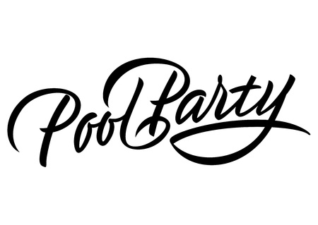 Pool party lettering vector illustration