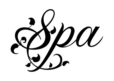 Spa lettering with leaves vector illustration