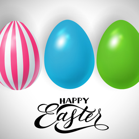 复活节节日设计与彩色鸡蛋矢量插图插图