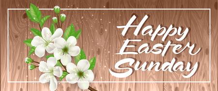 复活节铭文与盛开的树枝矢量插图插图