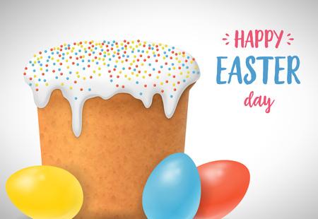 复活节字母与鸡蛋和蛋糕矢量插图