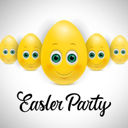 复活节派对字母与卡通蛋插图