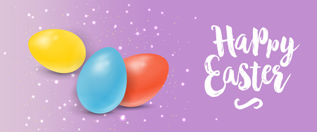 Happy Easter Lettering on Lilac Background