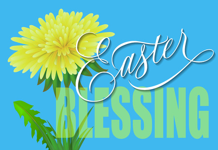 Easter blessing lettering with dandelion on blue background. Greeting card, postcard, spring. Easter holiday concept.