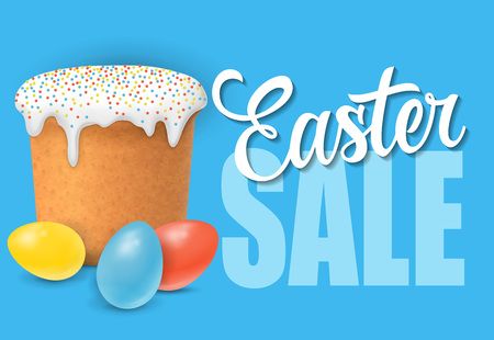 Easter sale lettering with panattone and eggs on blue background. Advertisement, retail, promotion. Illustration