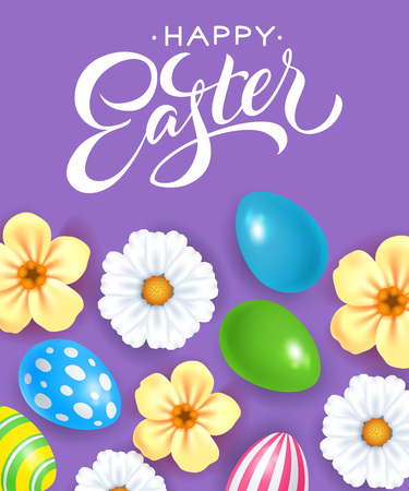 Happy Easter text with eggs and flowers