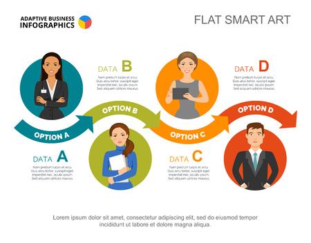 Four steps process charts. Business data. Team, workflow, diagram. Illustration