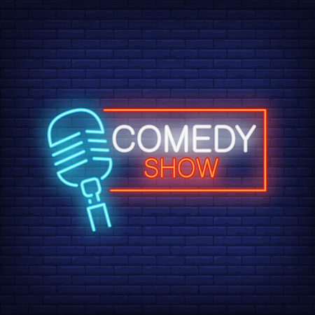 Comedy show neon sign, microphone with rectangular frame on brick wall background. Night bright advertisement vector illustration in neon style for stand up show.