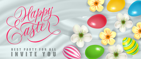复活节快乐,所有节日邀请设计的最好的派对与彩色的蛋和花。书法题字可以用于贺卡、明信片、横幅。