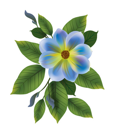 Illustration of blue flower with leaves. Forget me not, bud, twig. Flower concept. Can be used for topics like, greetings, celebration, plants. Çizim