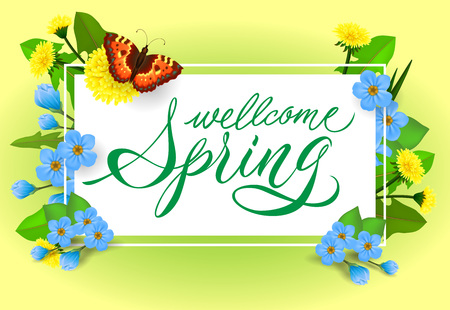 Welcome spring lettering. Calligraphic inscription with butterfly and flowers. Handwritten text, calligraphy. Can be used for greeting cards, posters and leaflets