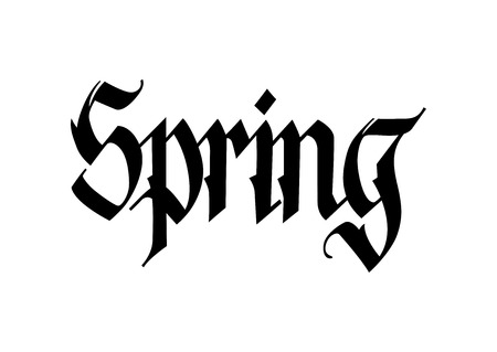 Spring seasonal poster template. Modern gothic calligraphy can be used for flyers, greeting cards, banners.