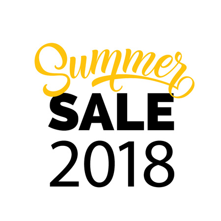 Summer sale, twenty eighteen seasonal poster template. Calligraphic inscription can be used for flyers, signs, banners.