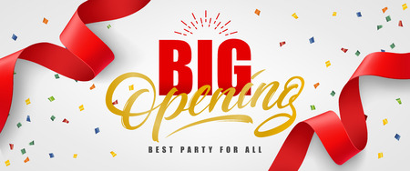 Big opening, best party for all festive banner design with confetti and red streamer on white background. Lettering can be used for invitations, signs, announcements. Ilustração