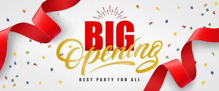 Große Öffnung, beste Partei für alles festliche Fahnendesign mit Konfettis und rotem Ausläufer auf weißem Hintergrund. Die Beschriftung kann für Einladungen, Schilder und Ankündigungen verwendet werden. Vektorgrafik