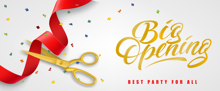 Big opening, best party for all festive banner design with confetti and gold scissors cutting red ribbon on white background. Lettering can be used for invitations, signs, announcements. 免版税图像 - 98912864