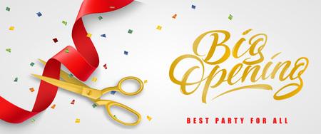 Grande ouverture, meilleure fête pour toute la conception de bannière festive avec des confettis et des ciseaux en or coupant le ruban rouge sur fond blanc. Le lettrage peut être utilisé pour des invitations, des panneaux, des annonces.
