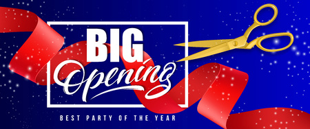 Big opening, best party of the year sparkling banner design with frame, gold scissors and red waved ribbon on blue background. Template can be used for signs, announcements, posters.