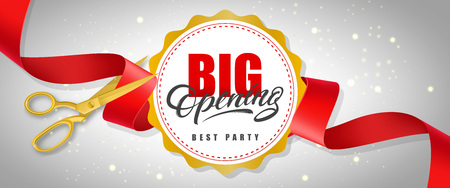 Big opening, best party sparkling banner design with text on white circle and gold scissors cutting red ribbon. Template can be used for signs, announcements, posters. Illusztráció